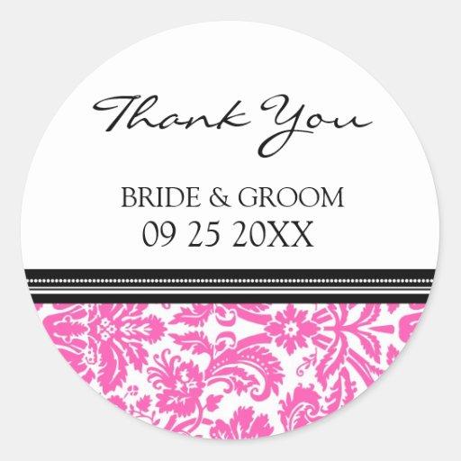 Pink Black Damask Thank You Wedding Favor Tags Sticker