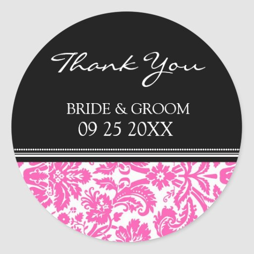 Pink Black Damask Thank You Wedding Favor Tags Stickers
