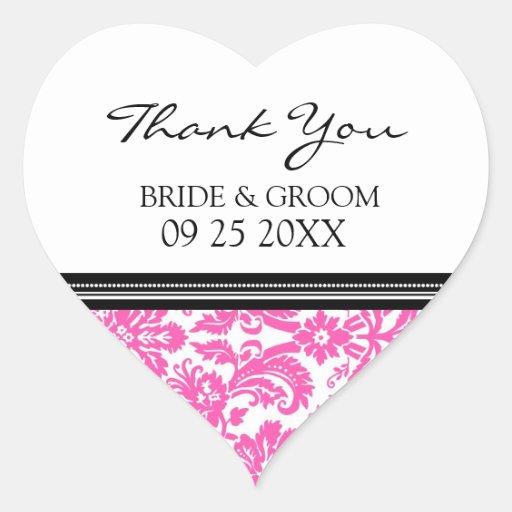 Pink Black Damask Thank You Wedding Favor Tags Heart Sticker