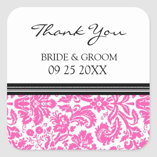 Pink Black Damask Thank You Wedding Favor Tags Square Stickers