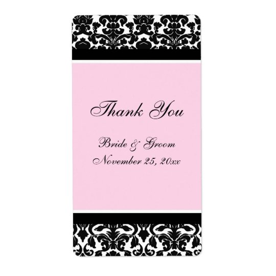 Pink Black Damask Wedding Labels