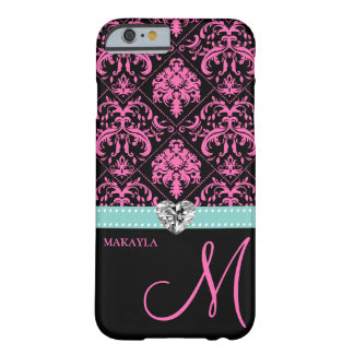 Pink & Black Damask with Diamond Heart & Monogram Barely There iPhone 6 Case