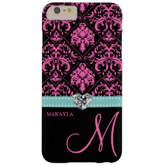 Pink & Black Damask with Diamond Heart & Monogram Barely There iPhone 6 Plus Case