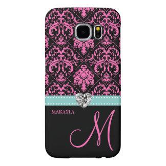 Pink & Black Damask with Diamond Heart & Monogram Samsung Galaxy S6 Cases