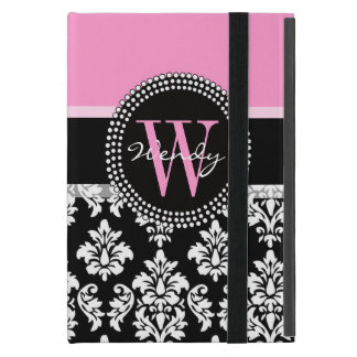 Pink, Black Damask Your Initial, Your Name Case For iPad Mini