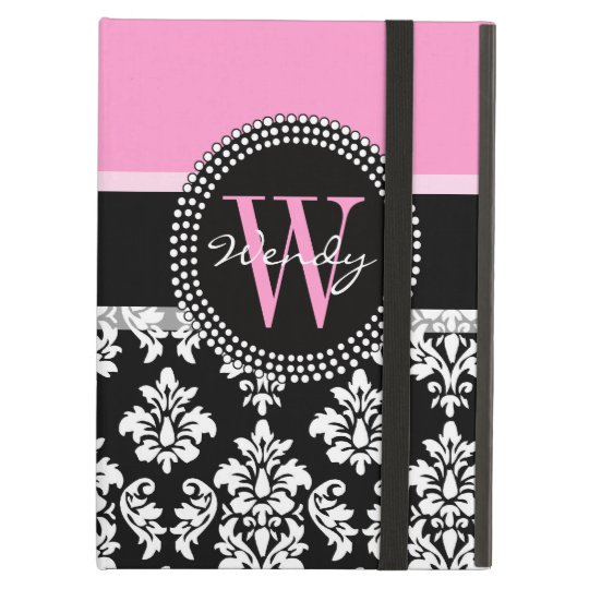 Pink, Black Damask Your Initial, Your Name iPad