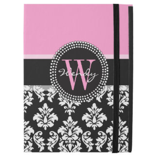 """Pink, Black Damask Your Initial, Your Name iPad Pro 12.9"""" Case"""