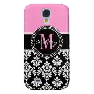 PINK, BLACK DAMASK, YOUR MONOGRAM ,YOUR NAME GALAXY S4 CASE