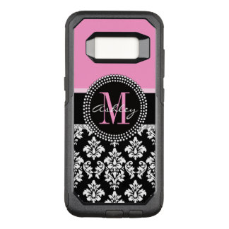 PINK, BLACK DAMASK, YOUR MONOGRAM ,YOUR NAME OtterBox COMMUTER SAMSUNG GALAXY S8 CASE