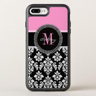 PINK, BLACK DAMASK, YOUR MONOGRAM ,YOUR NAME OtterBox SYMMETRY iPhone 8 PLUS/7 PLUS CASE