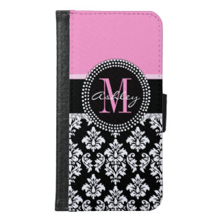 PINK, BLACK DAMASK, YOUR MONOGRAM ,YOUR NAME SAMSUNG GALAXY S6 WALLET CASE