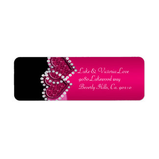 Pink & Black Diamond Locking Hearts Wedding