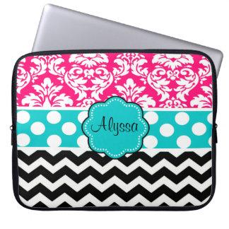 Pink Black Dot Damask Chevron Personalized Laptop Sleeve