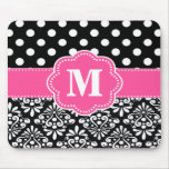 Pink Black Dots Damask Monogram Mouse Pad. Mouse Pad