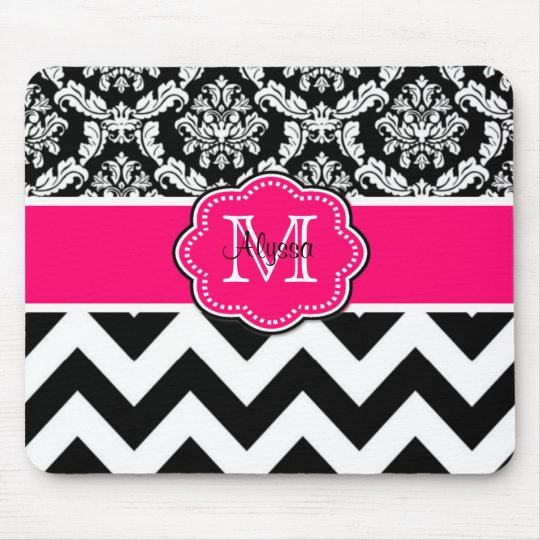 Pink Black Dots Damask Personalised Mousepad