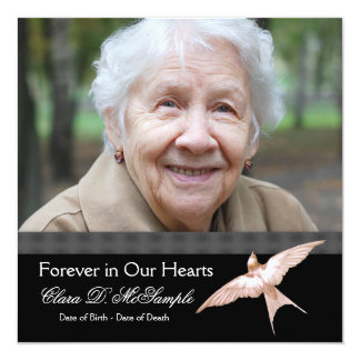"Pink Black Dove Womans Photo Funeral Announcements 5.25"" Square Invitation Card"