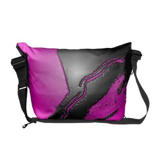 Pink Black Emboss Latex Messenger Bag