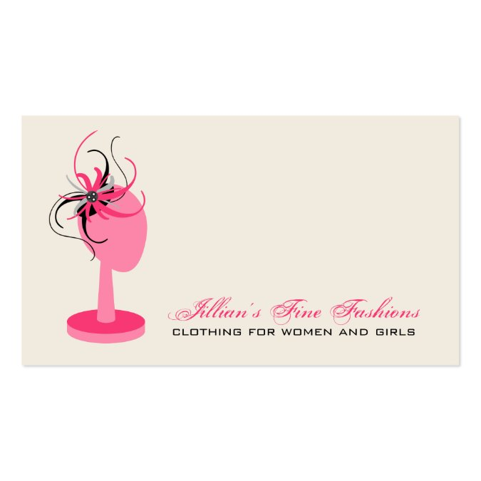 Pink black fascinator on hat stand clothing store business card template reheart Gallery