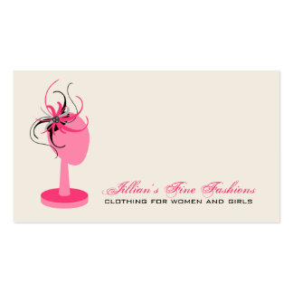 Pink Black Fascinator On Hat Stand Clothing Store Business Card Template