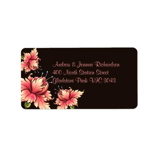 Pink & Black Floral Address Label