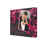 Pink Black Floral Wedding Photo Template Canvas Canvas Prints