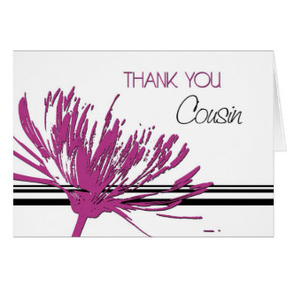 Pink Black Flower Cousin Thank You Bridesmaid Card