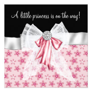 Pink Black Flowers Bows Princess Baby Shower Personalized Invitation