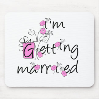 Pink/Black Flowers Getting Married Mouse Mat