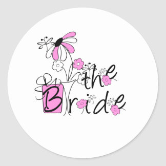 Pink/Black Flowers The Bride Stickers