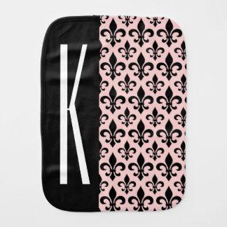 Pink & Black French Fleur-de-lis Baby Burp Cloth