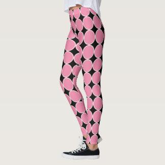 Pink Black | Geometric Dots Circles Pattern Leggings