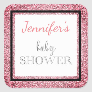 Pink Black Glamour Baby Shower Square Sticker