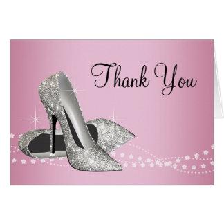Pink Black Glitter High Heels Thank You Card
