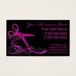 Pink black glitter swirl hair cut business cards