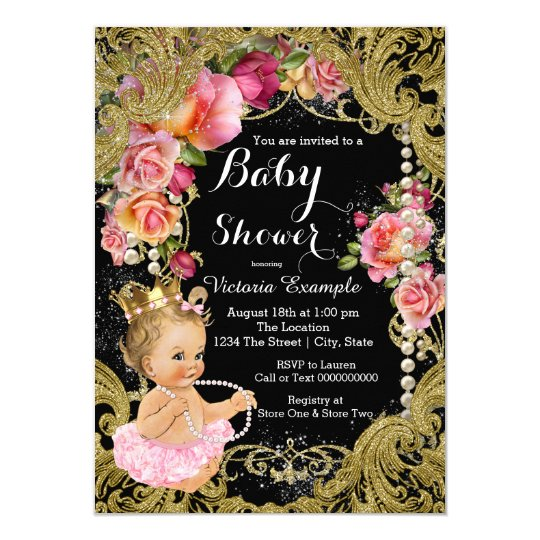 Pink Black Gold Chintz Rose Pearl Baby Shower