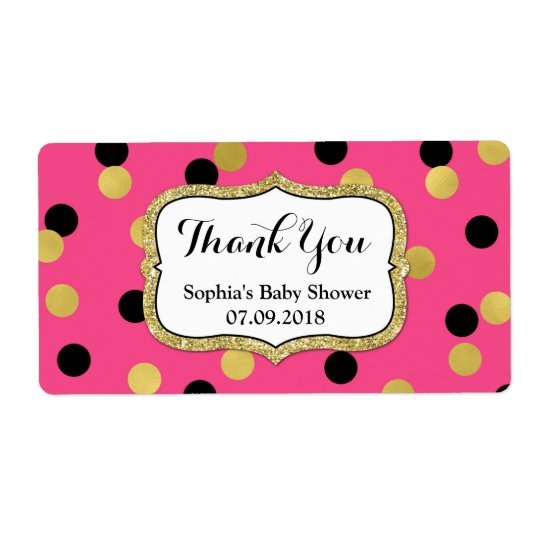 Pink Black Gold Confetti Baby Shower Labels