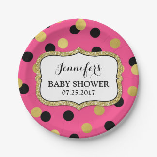 Pink Black Gold Confetti Baby Shower Plate