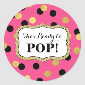 Pink Black Gold Confetti Baby Shower Ready to Pop Round Sticker