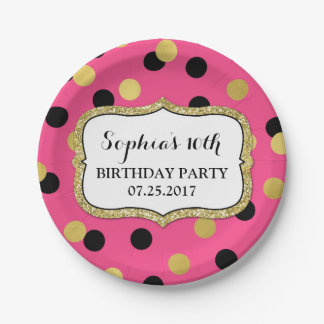 Pink Black Gold Confetti Birthday Party Plate