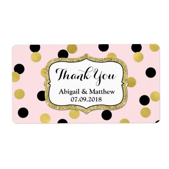 Pink Black Gold Confetti Wedding Labels