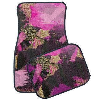 Pink Black Gold Glitter Modern Brush Glam Grunge Car Mat