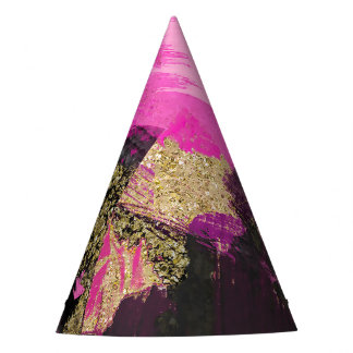 Pink Black Gold Glitter Modern Brush Glam Grunge Party Hat