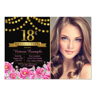 Pink Black Gold Modern 18th Birthday Party 11 Cm X 16 Cm Invitation Card