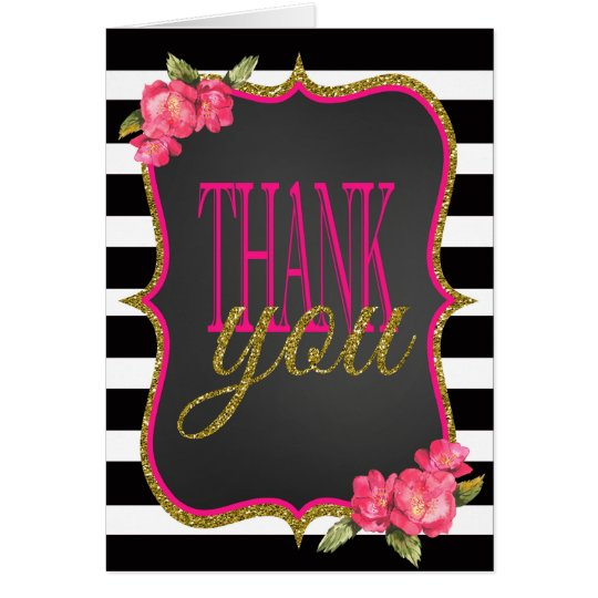 Pink Black Gold Wedding Thank You cards