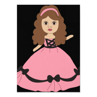 "Pink & Black Gown Princess 1 4.5"" X 6.25"" Invitation Card"