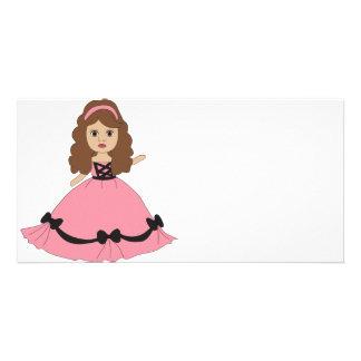 Pink Black Gown Princess 1 Photo Greeting Card