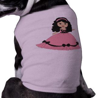 Pink Black Gown Princess 2 Doggie T-shirt
