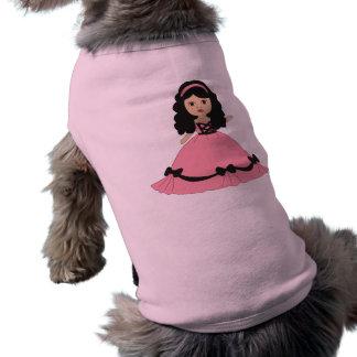 Pink Black Gown Princess 2 Doggie Tee Shirt