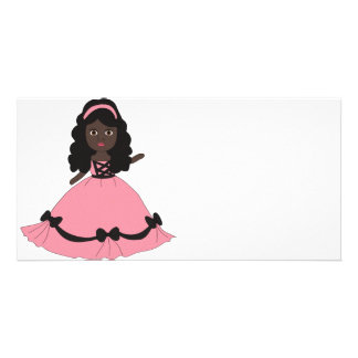 Pink Black Gown Princess 3 Personalized Photo Card
