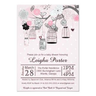Pink Black Grey Bird Cages & Jars Girl Baby Shower 13 Cm X 18 Cm Invitation Card